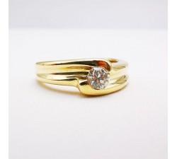 Bague Solitaire Diamant 0.24 carat Or Jaune 750 - 18 carats (Bijou d'Occasion)
