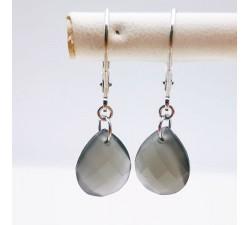 Boucles d'Oreilles Dormeuses Pierre de Lune Grise Or Blanc 750 - 18 carats